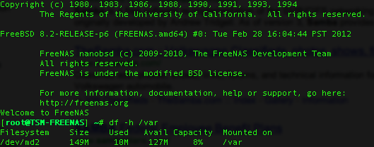 /Var Out of Space on FreeNas 8.04 (as Reported by Syslogd)